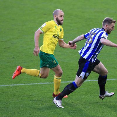 Teemu Pukki taistelee pallosta Sheffield Wednesdayn Tom Leesin kanssa.