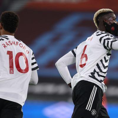 Paul Pogba herätti maalillaan Manchester Unitedin takaa-ajoon ottelussa West Hamia vastaan.