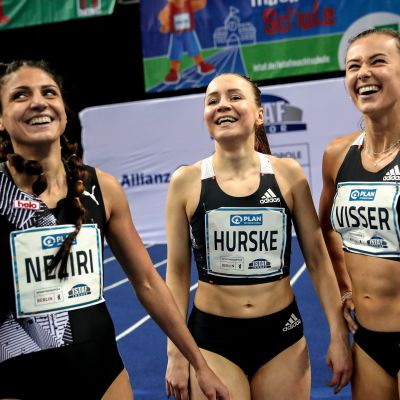 Nooralotta Neziri of Finland, Reetta Hurske of Finland and Nadine Visser of the Netherlands