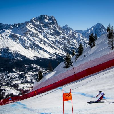 Marco Odermatt of Switzerland speeds down the slope during the Men's Downhill race at the FIS Alpine Skiing World Championships in Cortina d'Ampezzo
