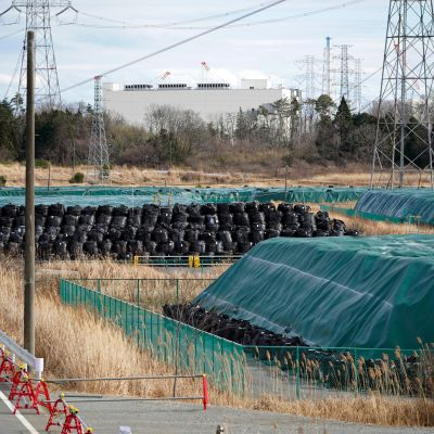 Saastunutta maata säkeissä ja takana Fukushima Daiichi ydinvoimala. 17.2.2021.