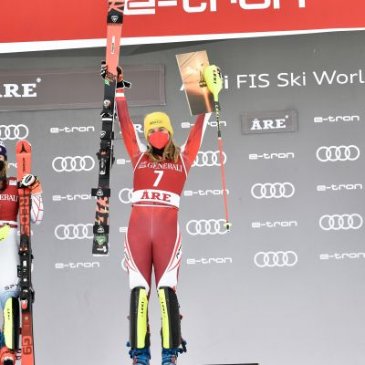 Mikaela Shiffrin of USA takes 2nd place, Katharina Liensberger of Austria takes 1st place, Wendy Holdener of Switzerland takes 3rd place during the Audi FIS Alpine Ski World Cup Women's Slalom on March 13, 2021 in Are Sweden.
