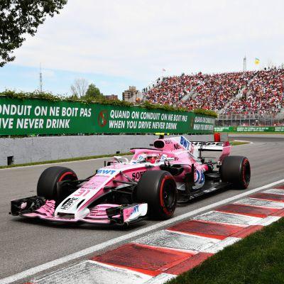 Esteban Ocon ajaa Circuit Gilles Villeneuve-radalla kesäkuun 10.päivä vuonna 2018