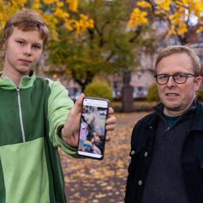 Ilmari Pensala isänsä Tuomaksen kanssa.