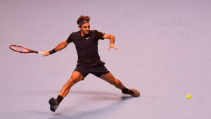 Roger Federer besegrar Tomas Berdych i ATP-slutspelet 2015.