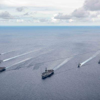 Yhdysvaltain laivastoa Etelä-Kiinan merellä heinäkuussa 2020.