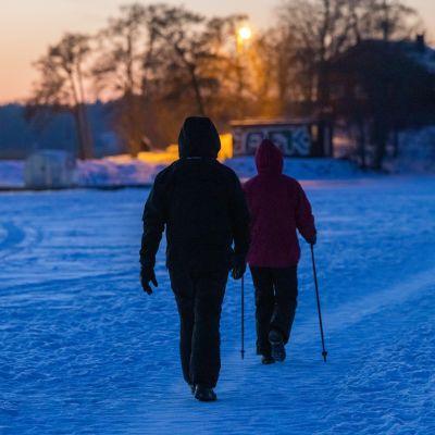 Pariskunta kävelyllä meren jäällä Espoossa helmikuussa 2021. Kuvituskuva.