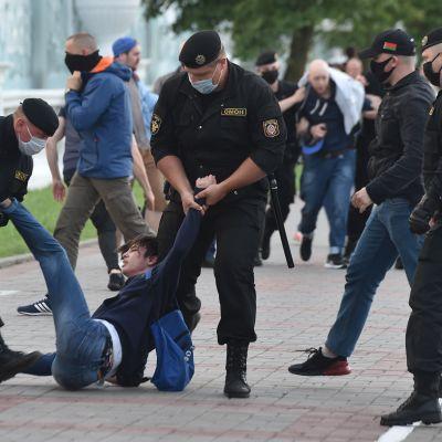 Fyra poliser griper en demonstrant