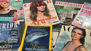Tidskrifter tryckta på papper från Sappis fabrik i Lojo.