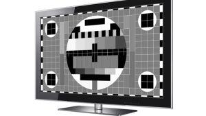 en svartvit platt-tv