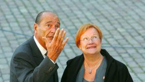 Jacues Chirac och Tarja Halonen.