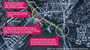 Karta över vägbygget vid Alskatvägen och Brändövägen.