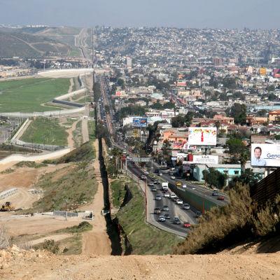 Gränsen mellan USA och Mexico vid Tijuana.