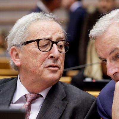 EU-komission puheenjohtaja Jean-Claude Juncker ja brexit-pääneuvottelija Michel Barnier osallistuivat Euroopan parlamentin brexit-keskusteluun keskiviikkona iltapäivällä.
