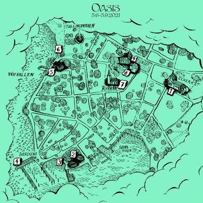 tecknad stadsdelskarta i grönt