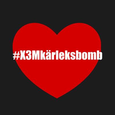 Logo för #X3Mkärleksbomb Instagramkampanj