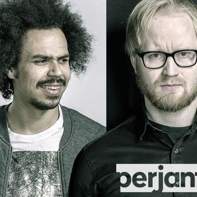 Ajankohtaisohjelma Perjantain juontajat Sean Ricks ja Pekka Vahvanen