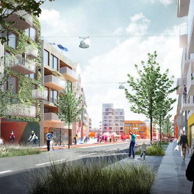 En arkitektillustration av hur det planerade bostadsområdet på travbanan i Vasa kommer att se ut. På bilden ser man torget från Klemetsögatan. Vid torget står ett höghus på mellan åtta och nio våningar.