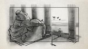 Harold Michelsonin piirros ja omakuva suuresta Alfred Hitchcockista ja tätä lähestyvästä pienestä storyboard-artistista.