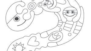 Pikku Kakkosen logo värityskuvana