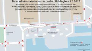 Trafikarrangemangen under de nordiska statschefernas besök till Helsingfors 1.6.2017