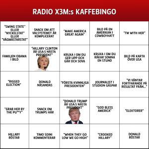 Bingotavla inför presidentvalet i USA 2016.