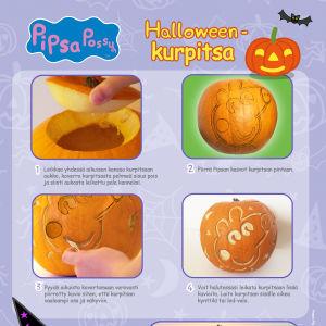 Pipsa Possu Halloween puuha - kurpitsan koristelu-ohje.
