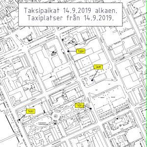 En karta över centrum av Borgå. På kartan har fyra taxiplatser märkts ut, tre på Biskopsgatan och en på Ågatan.