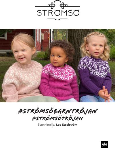 Tre barn med stickade tröjjor.
