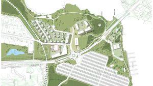 En karta där det syns flera nya hus och en stor parkering.