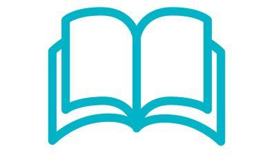 Symboli-kuva, jossa avoin kirja.