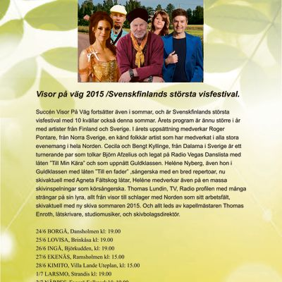Visor på väg turné 2015 under ledning av Thomas Enroth