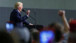 Donald Trump talar under ett valmöte i North Carolina i oktober 2016.