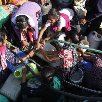 Invånare i New Delhi vill fylla sina kanistrar med vatten