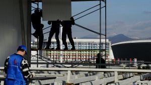 Byggarbetare i Sotji den 21 januari 2014