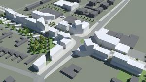 Korsningen mellan Karlebyvägen och Bölevägen, med den planerade rondellen och nybyggnationer (vita husen) inritade