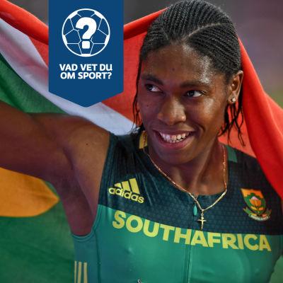 Caster Semenya med Sydafrikas flagga.