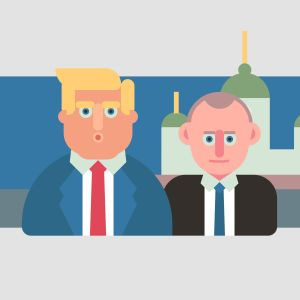 Illustration på Donald Trump och Vladimir Putin med Helsingfors domkyrka i bakgrunden.