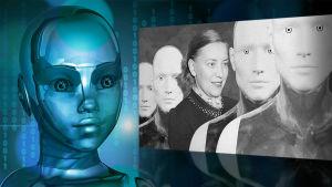 robotansikten på en skärm