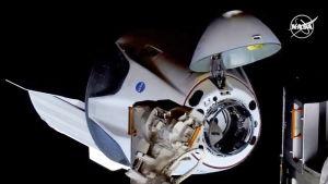 Rymdkapseln Chew Dragon dockar vid rymdstationen ISS.