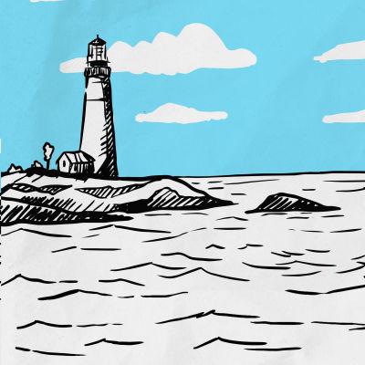 En illustration av ett havslandskap med en fyr och rubriken Klimatneutralt Finland 2035