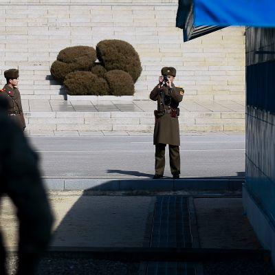 Syd- och Nordkoreanska soldater bevakar varandra över gränsen mellan länderna.