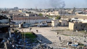Stora delar av byggnaderna i Ramadi är förstörda.