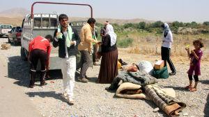 Yazidiska flyktingar vid gränsen mellan Irak och Syrien.