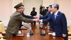 Högt uppsatta representanter från Nordkorea (till vänster) skakar hand med representanter från Sydkorea i Panmunjom den 22 augusti 2015.