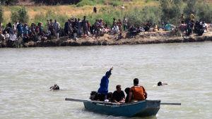 En irakisk familj tar sig över floden Eufrat efter att ha lyckats fly till staden Amiriyat Al Falluja, sydost om Falluja.