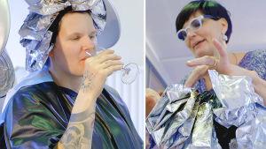Tuhkimotarinoiden Ulla juo samppanjaa kampaajalla.