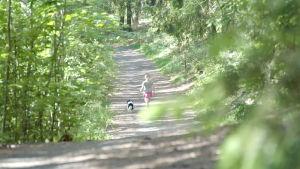 Linda koiran kanssa metsässä