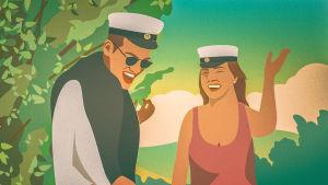 Illustration av en manlig och en kvinnlig student i somrigt landskap.