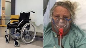 Collage av två bilder. Till vänster en rullstol som står vid en vägg på ett sjukhus. Till höger en kvinna som är klädd i sjukhuskläder och bär syremask.